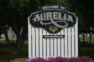 Aurelia Welcome Sign